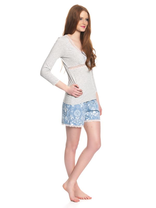 Vive Maria Blue Barock Short Pyjama gray melange/blue allover – Bild 2