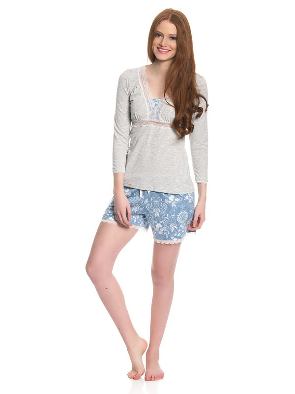 Vive Maria Blue Barock Short Pyjama gray melange/blue allover – Bild 1