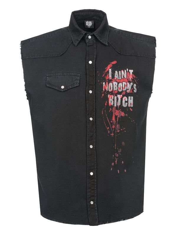 The Walking Dead DARYL WINGS Mens Sleeveless Worker Shirt Hemd schwarz – Bild 0
