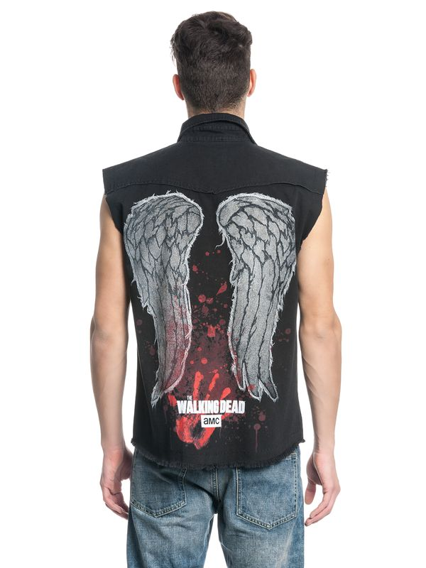 The Walking Dead DARYL WINGS Mens Sleeveless Worker Shirt Hemd schwarz – Bild 3