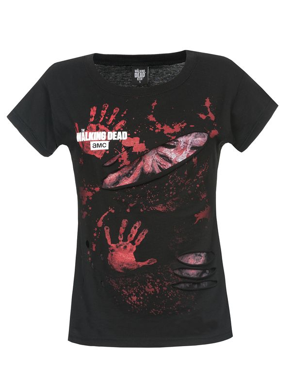 The Walking Dead LOGO BLOOD HAND PRINTS Ladies Ripped Top black – Bild 0
