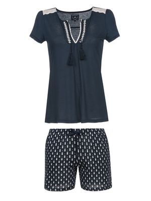 VIVE MARIA Dreaming Sailor Damen Kurz Pyjama Navy Allover – Bild 0