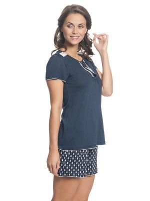 VIVE MARIA Dreaming Sailor Damen Kurz Pyjama Navy Allover – Bild 2