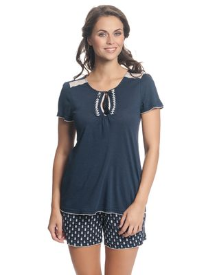 VIVE MARIA Dreaming Sailor Damen Kurz Pyjama Navy Allover – Bild 1