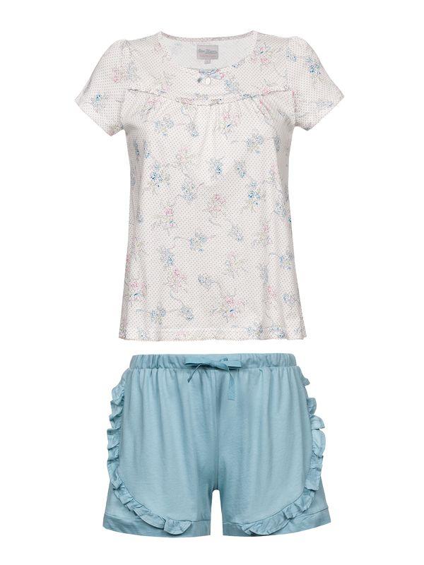 Vive Maria Baby Doll Pyjama Weiß Allover/ Blau – Bild 1