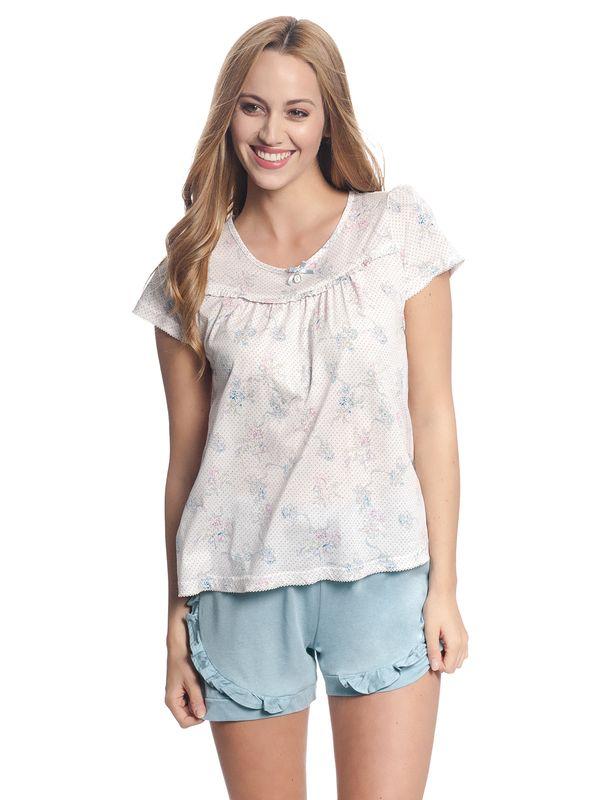 Vive Maria Baby Doll Pyjama Weiß Allover/ Blau – Bild 2