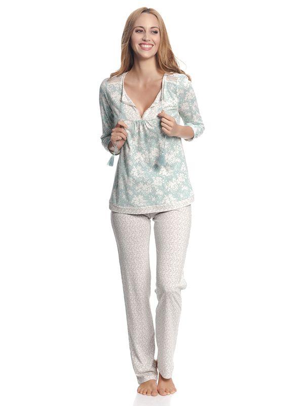Vive Maria Charming Rose Damen Pyjama Blau Allover / Creme Allover – Bild 2