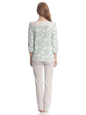 Vive Maria Charming Rose Damen Pyjama Blau Allover / Creme Allover – Bild 3