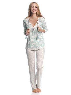 Vive Maria Charming Rose Damen Pyjama Blau Allover / Creme Allover – Bild 1