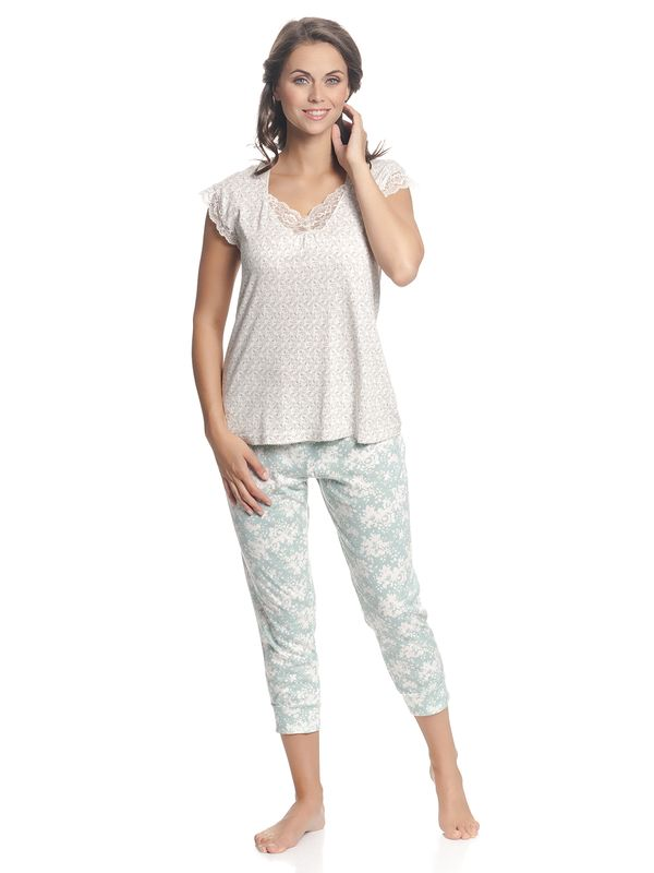 Vive Maria Charming Girl Damen Pyjama Creme Allover/Blau Allover – Bild 2