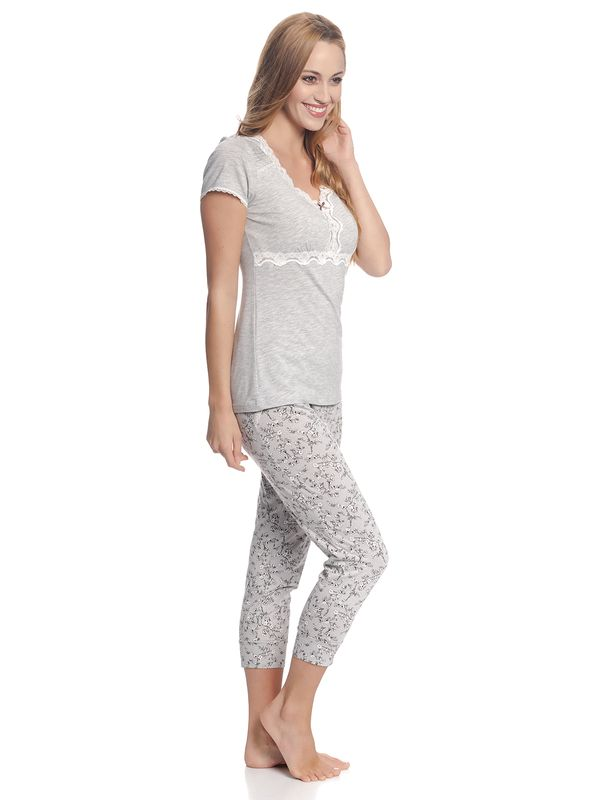 VIVE MARIA Cherry Dream Pyjama Grau Melange / Grau Allover – Bild 3