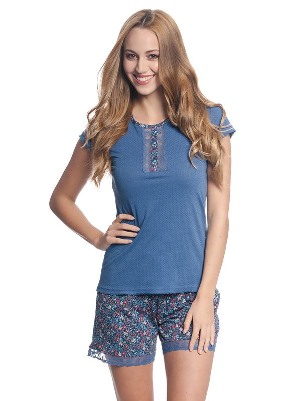 VIVE MARIA French Flower Kurz Pyjama Blau/Blau Allover – Bild 2