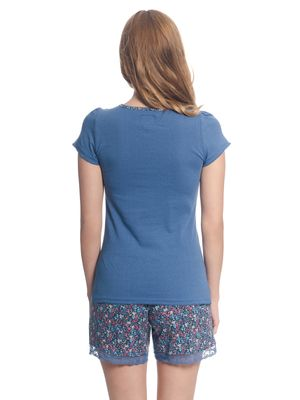 VIVE MARIA French Flower Kurz Pyjama Blau/Blau Allover – Bild 3
