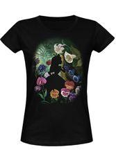 Alice in Wonderland Black Flower Frauen T-Shirt schwarz