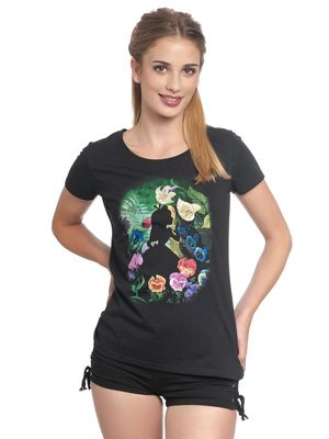 Alice in Wonderland Black Flower Frauen T-Shirt schwarz – Bild 1