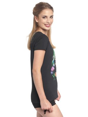 Alice in Wonderland Black Flower Frauen T-Shirt schwarz – Bild 2