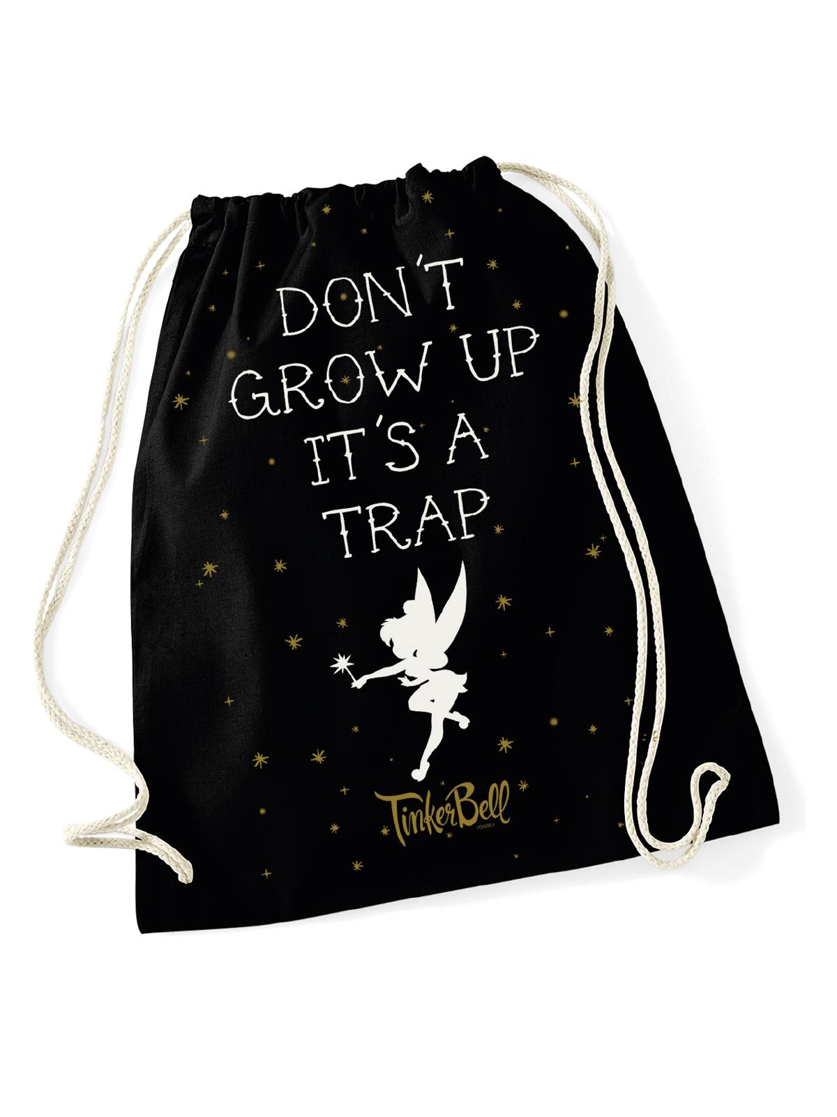 Sporttaschen - Tinkerbell Don't Grow Up Turnbeutel Schwarz  - Onlineshop NAPO Shop