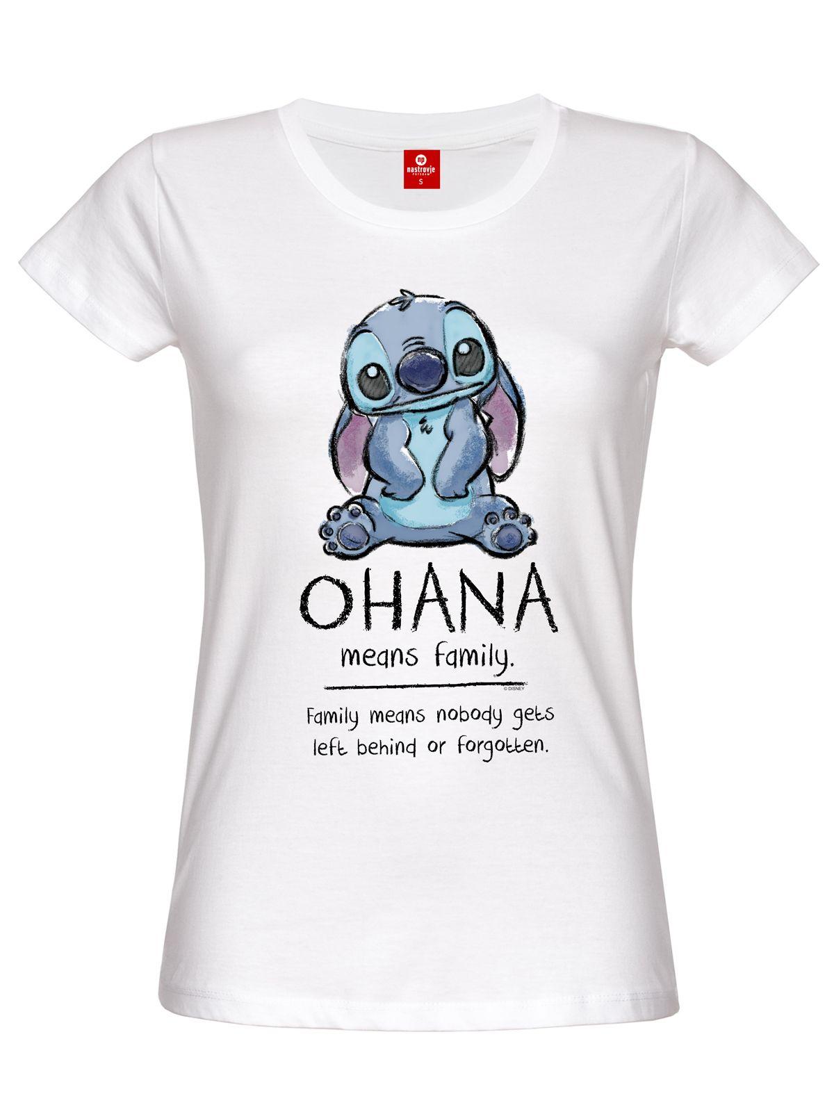 Lilo stitch ohana means family damen t shirt wei ebay for How to whiten shirts