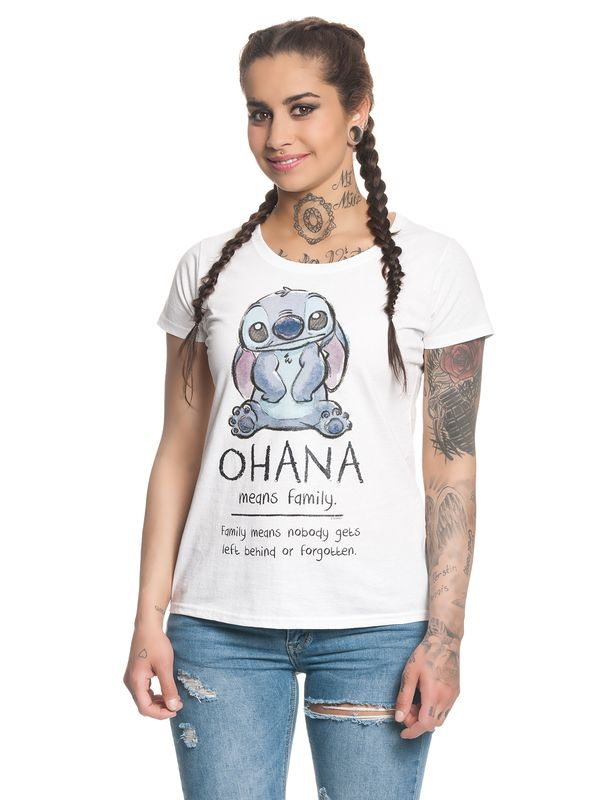 Lilo&Stitch Ohana Means Family Damen T-Shirt Weiß – Bild 1