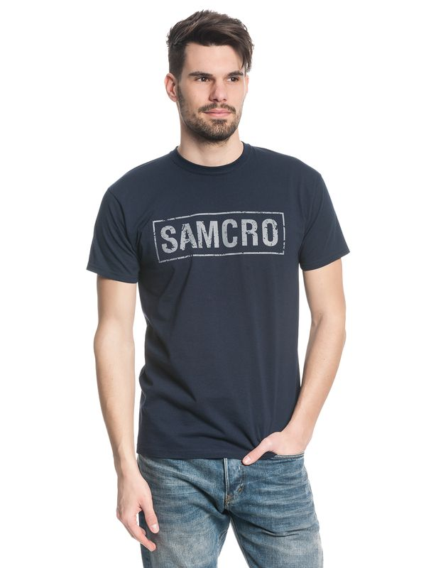 Sons Of Anarchy Samcro Destroyed T-Shirt navy – Bild 1