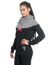 Pussy Deluxe Houndstooth Shawl Hoodie black allover – Bild 2