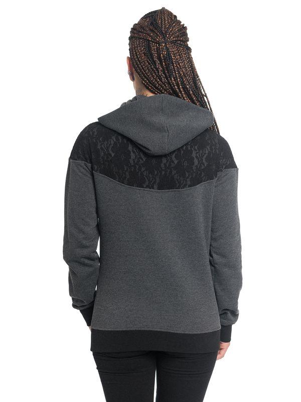 Pussy Deluxe Lace Schalkragen Kapuzenpullover graumeliert – Bild 3