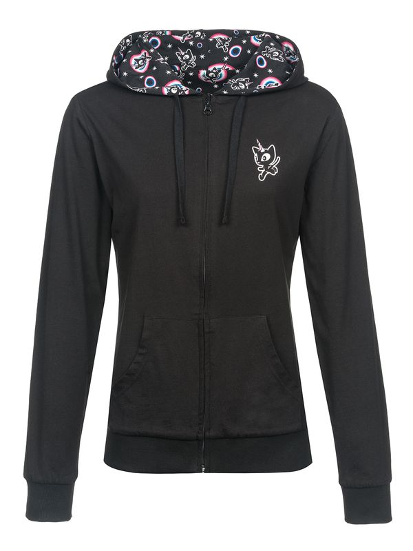 Pussy Deluxe Unicorn Hooded Damen Kapuzen Wendejacke schwarz Alloverdruck – Bild 0