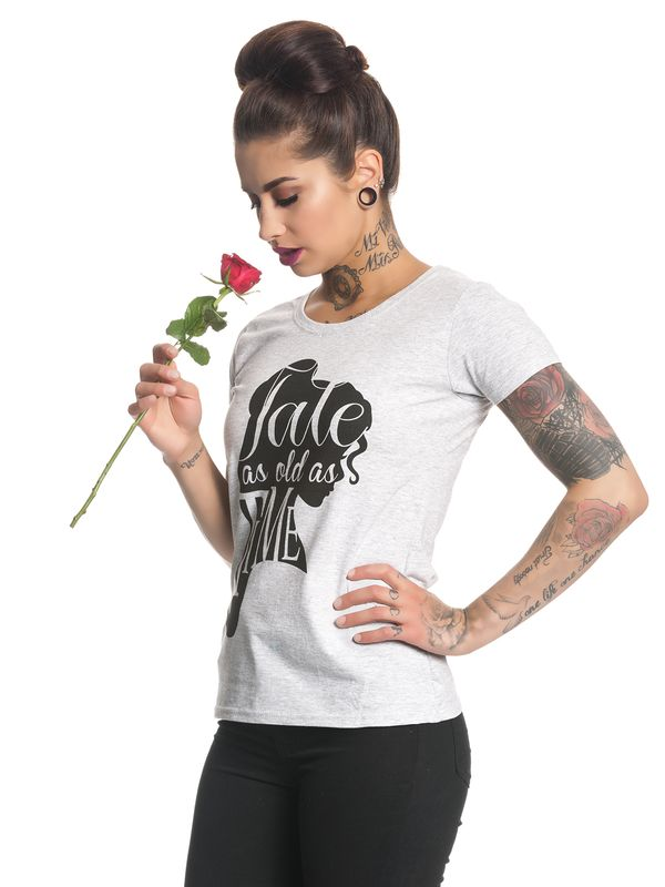 Beauty & The Beast Tale As Old As Time Damen T-Shirt Grau Melange – Bild 1