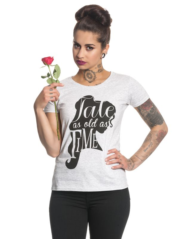 Beauty & The Beast Tale As Old As Time Damen T-Shirt Grau Melange – Bild 2