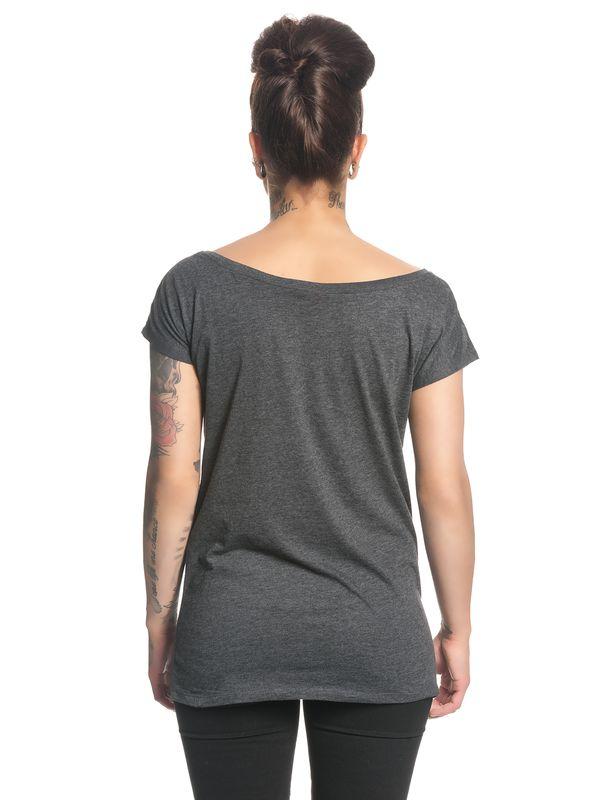 Beauty & The Beast Silhouette Damen Loose T-Shirt Grau Melange – Bild 3