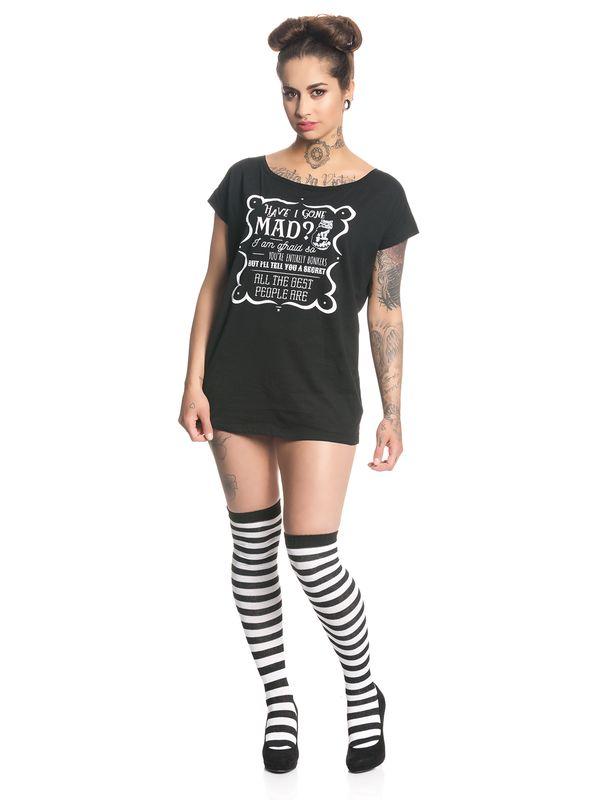 Alice In Wonderland Have I Gone Mad Damen Loose T-Shirt Schwarz – Bild 0