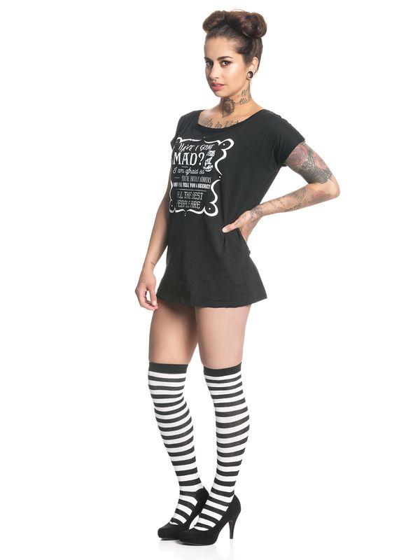 Alice In Wonderland Have I Gone Mad Damen Loose T-Shirt Schwarz – Bild 2