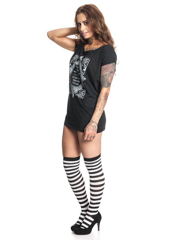 Alice In Wonderland Don't Know Where To Go Loose Tee for Women Black – Bild 1