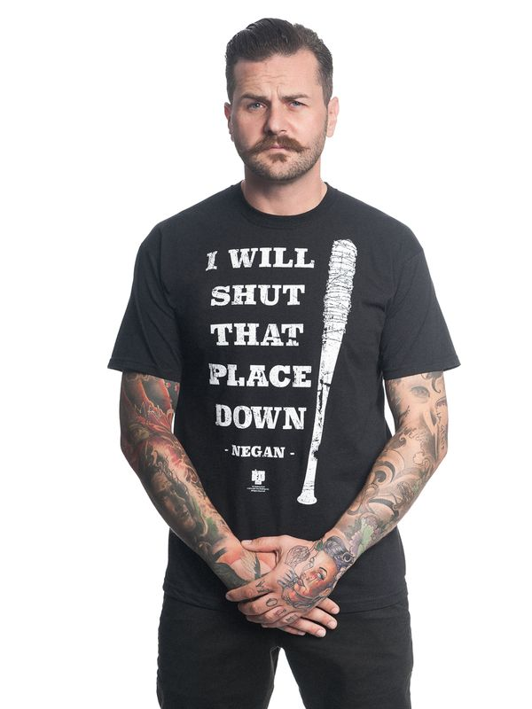 The Walking Dead Shut That Shit Down  Herren T-Shirt Schwarz – Bild 1