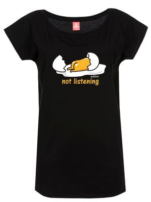 Gudetama Not Listening Damen T-Shirt Schwarz – Bild 0
