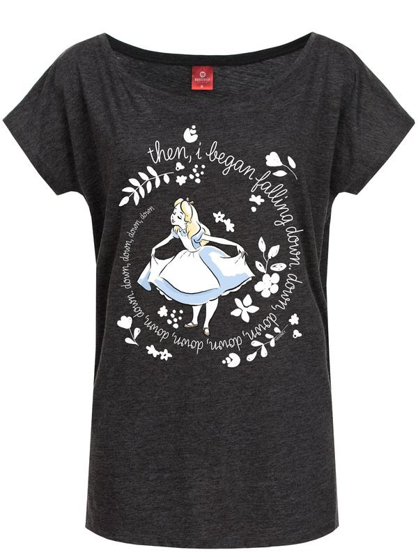 Alice in Wonderland Then I Began Tee for Women Gray Melange – Bild 0