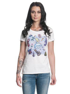 Alice im Wunderland  Falling Damen T-Shirt Weiß – Bild 1