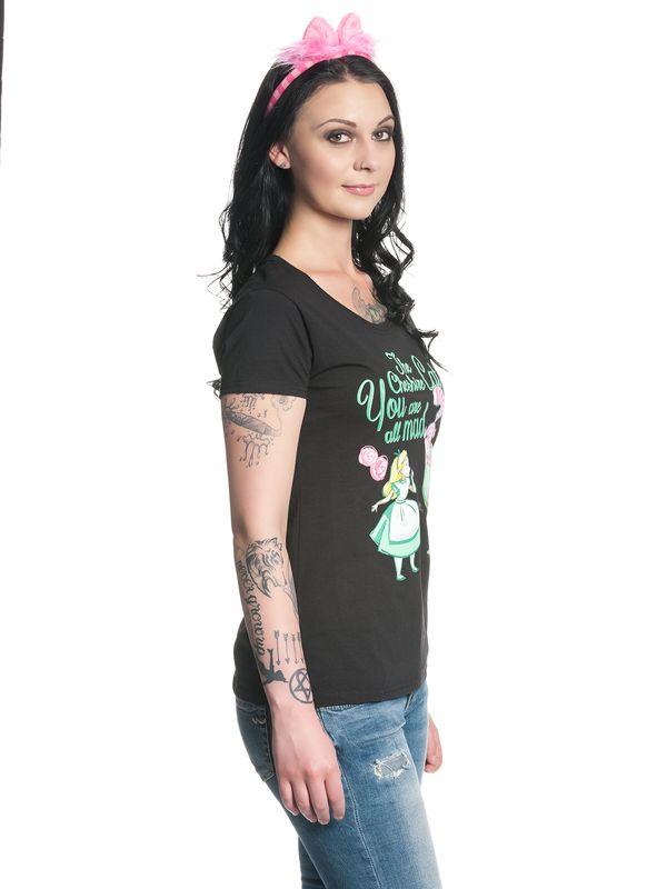 Alice im Wunderland All Mad Damen T-Shirt Schwarz – Bild 1