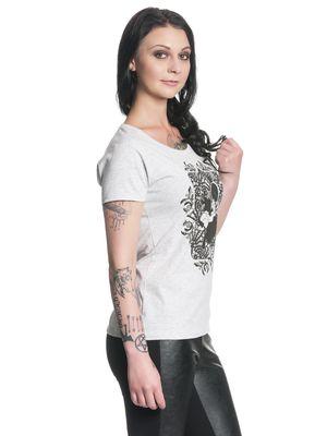 Alice im Wunderland Tick Tock Damen T-Shirt Grau Melange – Bild 2