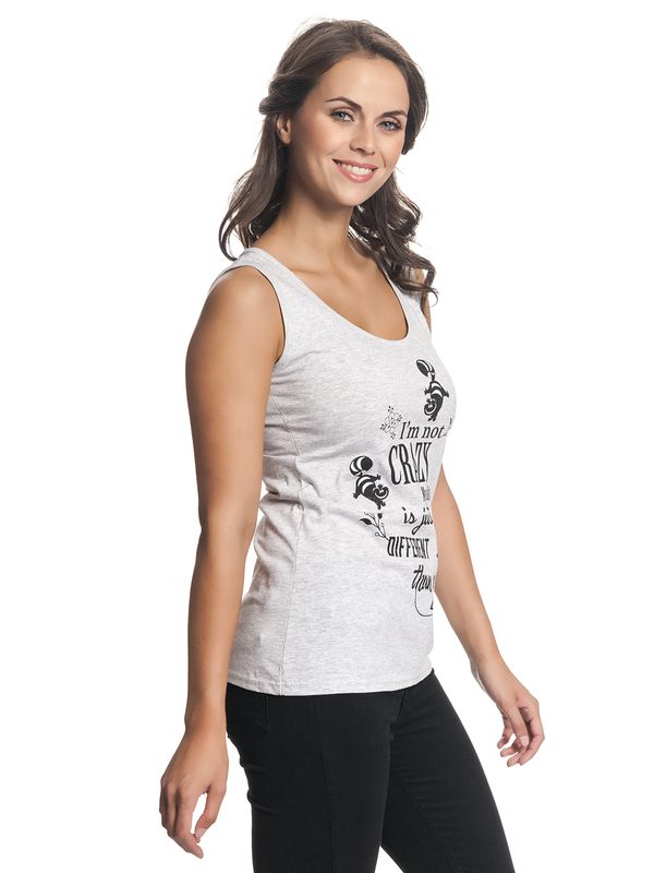 Alice in Wonderland Not Crazy Damen Top Grau Melange – Bild 2