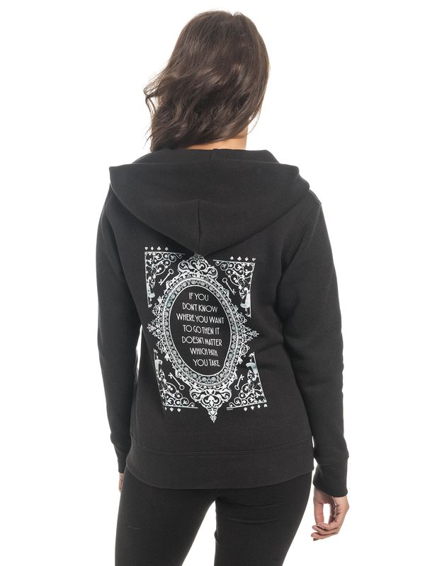 Alice im Wunderland Don't Know Where To Go Damen Zip-Hoodie Schwarz – Bild 5