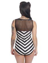 Pussy Deluxe Big Party Stripes Swimsuit Black / Cream – Bild 3
