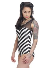 Pussy Deluxe Big Party Stripes Swimsuit Black / Cream – Bild 2