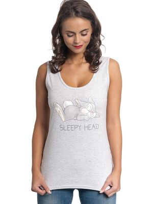 Bambi Thumper Sleepy Head Damen Top Grau Melange – Bild 1