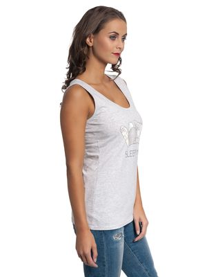 Bambi Thumper Sleepy Head Damen Top Grau Melange – Bild 2