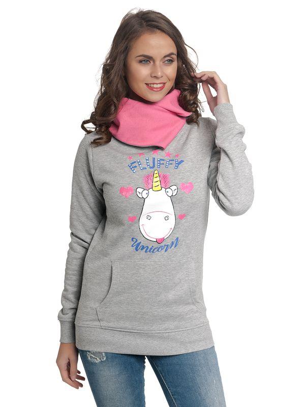 Minions Fluffy Unicorn Frauen Schalkragen Kapuzenzpullover graumeliert/pink Ansicht