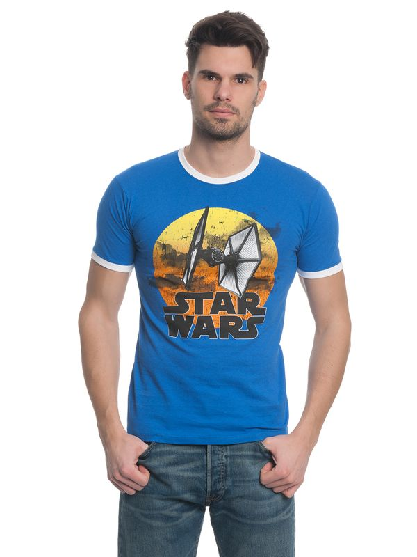 Star Wars TIE Fighter 77 Herren T-Shirt Blau – Bild 1