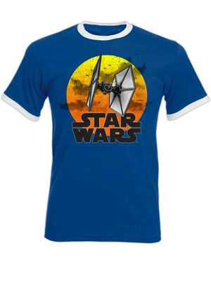 Star Wars TIE Fighter 77 Herren T-Shirt Blau – Bild 3