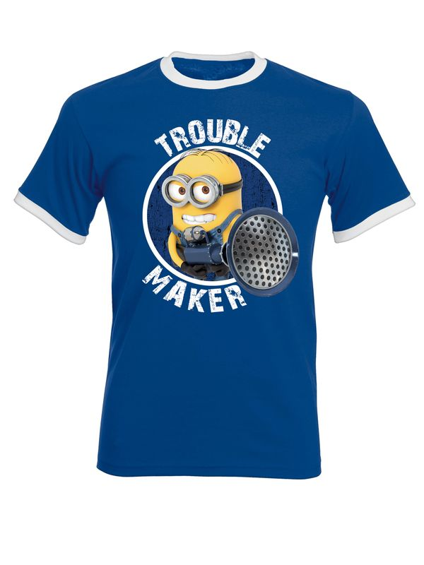 Minions Trouble Maker Ringer Herren T-Shirt Blau – Bild 1
