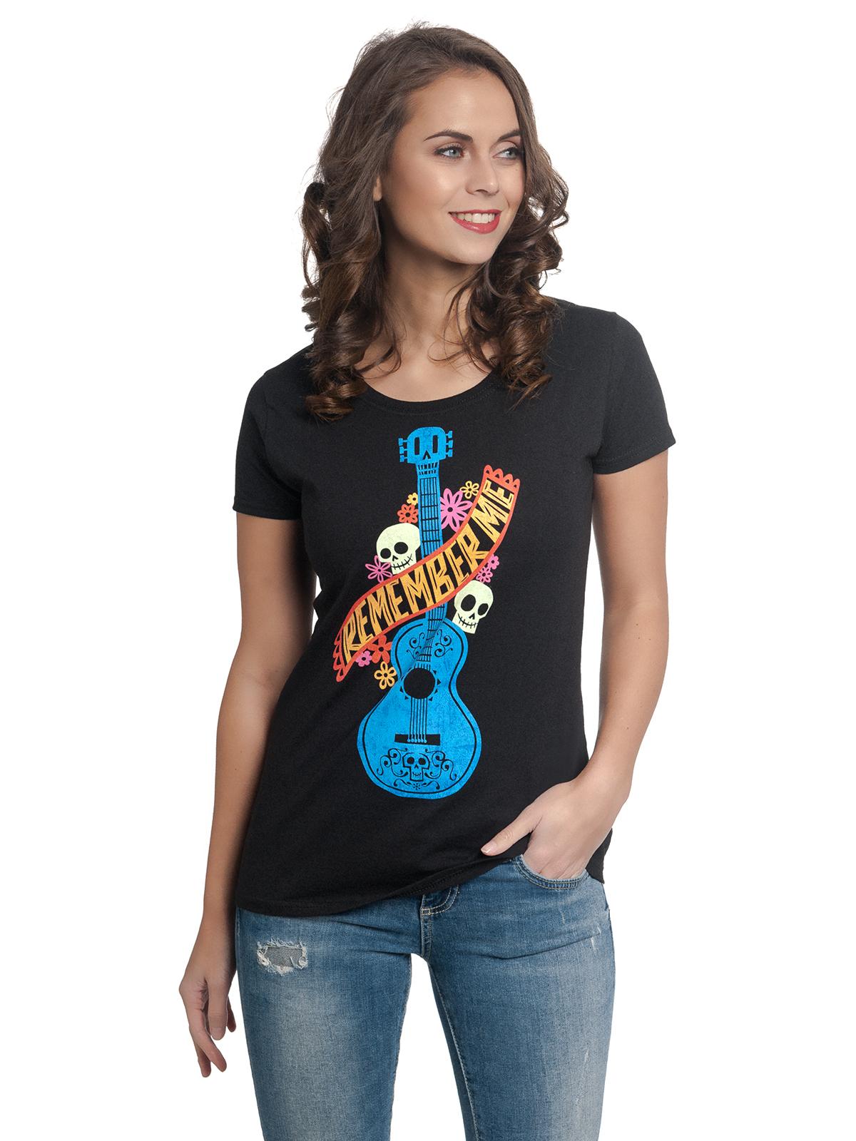 disney coco guitarra azul damen t shirt schwarz damen t. Black Bedroom Furniture Sets. Home Design Ideas